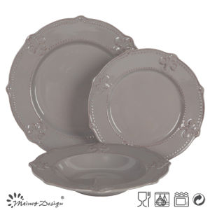 Classic Grey Color Embossed Dinner Set 18PCS pictures & photos