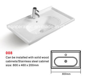 Cabinet Basin (No. 008) Rectangular Ceramic Sink with Backsplash pictures & photos