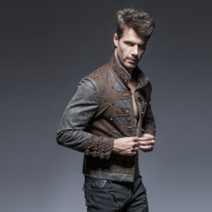 Y-646 Steam Punk Man Zipped Stand-up Collar Leather Short Jackets pictures & photos