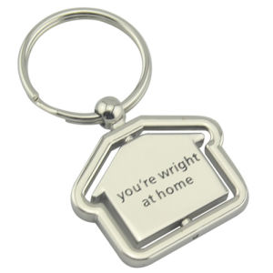 Promotional Souvenir Spinning Deboss Engrave Logo House Shaped Keychain (F1079) pictures & photos