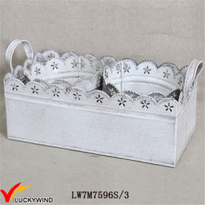 S/3 Shabby Chic White Metal Iron Planter with Tray pictures & photos