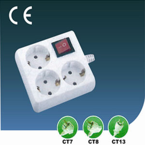 10A Three Ways European Extension Switch Socket