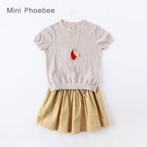 Phoebee Fashion Kids Clothing Linen Summer Girls T-Shirt pictures & photos