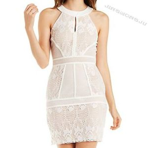 Ladies Knit, Mock up Neck Sleeveless, Front Keyhole, Back Zipper Closed, See Through Sheer Mesh Panel Bodycon Evening Party Dress