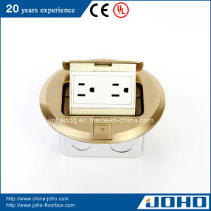 Brass Round Raised Electrical Cavity Floor Data Box 15A 125V
