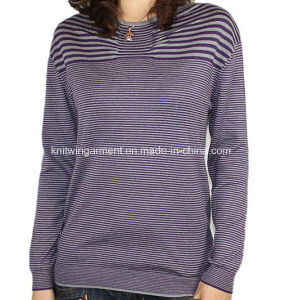 Ladies Knitted Long Sleeve Pullover Sweater for Casual (12AW-153)