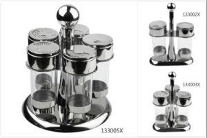 Stainless Steel Condiment Cruet Set with Stand (133002X/133003X/133005X) pictures & photos