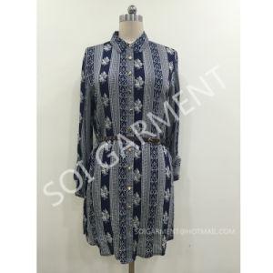 Rayon Print Long Sleeve Shirt Dress with PU Belt (DR-027)