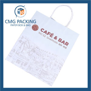 Black and White Kraft Paper Bag for Fashion Clothing with Twist Handle (CMG-MAY-050) pictures & photos