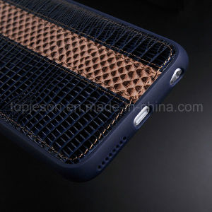 Blue Purple with Brown Genuine Leather Case for iPhone 6/6s pictures & photos