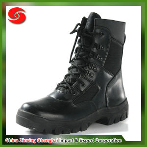 Genuine Leather Nylon Lace Newest Style Black Patent Leather Military Boots pictures & photos