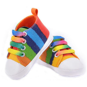 Baby Shoes Fashion Rainbow Canvas Shoes Soft Prewalkers Casual (AKBS4) pictures & photos