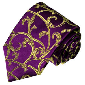 New Fashion Dark Purple Colour Background Gold Turkey Flower Pattern Men′s Silk Neckties pictures & photos