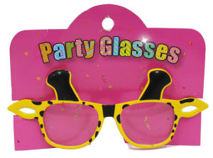 Party Glasses with Giraffe Yellow
