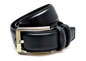 Fashion Black Leather Man′s Belt