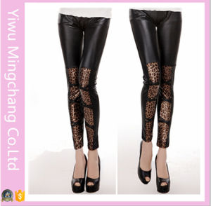 European and American Leather Type Leopard Stitching Stretch Leggings pictures & photos