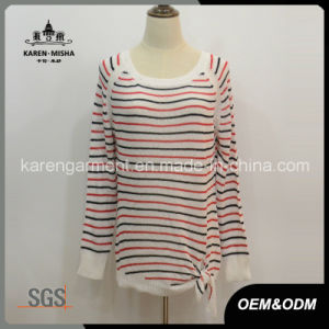 Trendy Striped Ribbed Sweater Womens Fashion pictures & photos