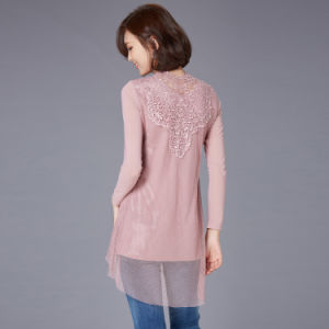 2016 Early Spring Stylish Desin Woman Embroidery Lace Long Sleeve Shirt pictures & photos