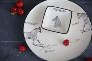 Export to Europe Retro Gumo Deng Horse Painted Ceramic Plate Breakfast Dish Pasta Plate 0.4kg pictures & photos