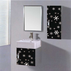 Small Wall Mounted Stainless Steel Bathroom Vanity With Side Cabinet