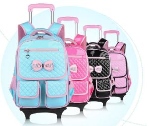 High Quality Girl′s School Bag with a Pull Rod