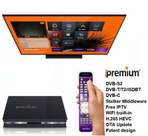 Ipremium Hybrid Receiver Full H. 265 DVB S2+T2/C/ISDB-T Combo Box pictures & photos
