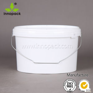 7.5L White Ellipse Plastic Bucket Paint Bucket with Plastic Lid and Metal Handle pictures & photos