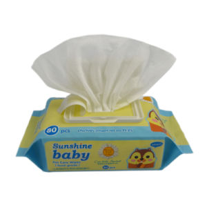 80 PCS Cartoo Pack Economic Spunlace Non-Woven Baby Wet Wipe pictures & photos