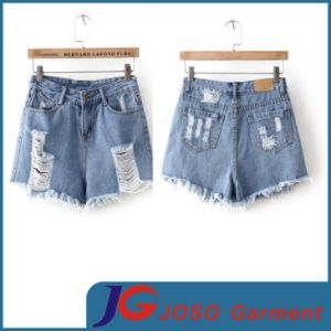 Specially Front Pocket Ripped and Sratch Girls Denim Shorts (JC6099) pictures & photos