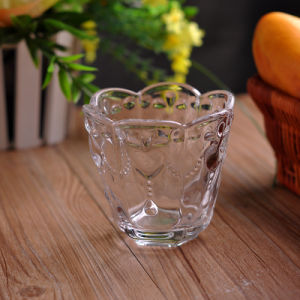 Flower Patterned Clear Candle Holders pictures & photos