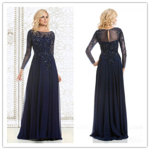 Sleeves Mother of The Bride Prom Gowns Beads Chiffon Navy Evening Dresses Z9033 pictures & photos