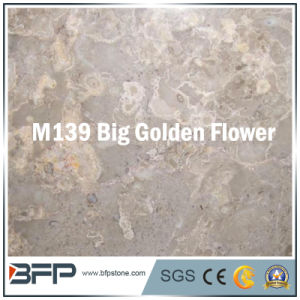 Chinese Big Golden Flower Marble of 10mm Thick Tile for Flooring, Wall Decor pictures & photos