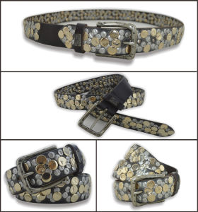 Black Genuine Leather Belt with Fashion Studs pictures & photos