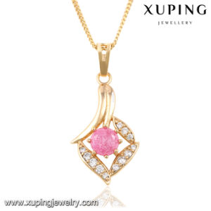 32667 Fashion Elegant Rhinestone CZ 18k Gold-Plated Imitation Jewelry Chain Pendant pictures & photos