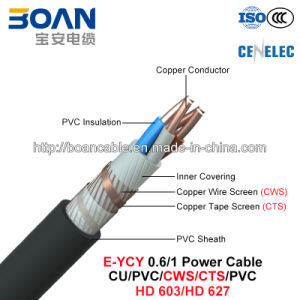 E-Ycy, LV Power Cable, 0.6/1 Kv, Cu/PVC/Cws/Cts/PVC (HD 603/HD 627) pictures & photos