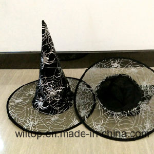 Halloween Printed Silver Spider Web Witch Hat (PM073) pictures & photos