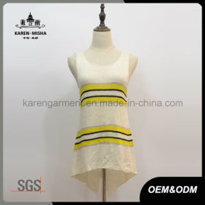 Sleeveless Knitted Striped Hi-Lo Hem Women′s Clothing pictures & photos