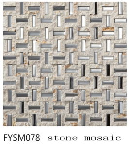 Strainless Steel Mixed Nature Building Material Marble Mosaic Floor Stone Tile (FYSM078)