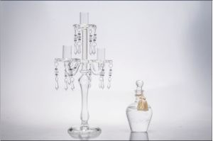 Clear Three Poster Glass Candle Holder for Wedding Decoration pictures & photos