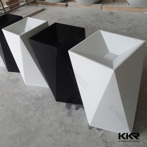 Diamond Design White and Black Artificial Marble Pedestal Sink (B1705028) pictures & photos