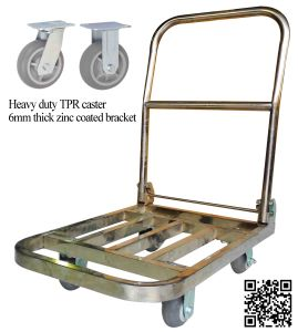 300kgs Stainless Steel Platform Folding Pushcart pictures & photos