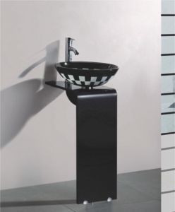 Solid Wood Bracket Glass Wash Basin (7051) pictures & photos