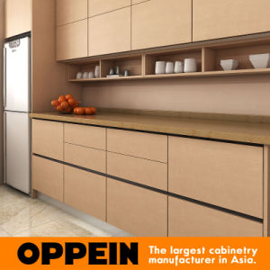 Oppein Modern Brown Melamine Wooden Kitchen Furniture with Island (OP15-M10) pictures & photos