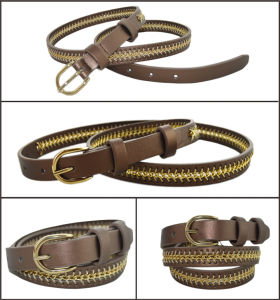Fashion Joker Lady′s Brown PU Belt pictures & photos