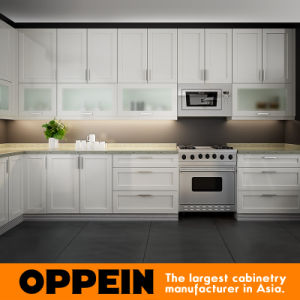 Oppein Matte Lacquer White Wooden Kitchen Cabinets with Island (OP16-L06) pictures & photos