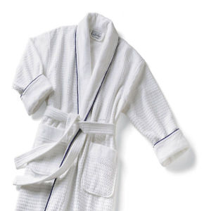 Oversize Shawl Collar Unisex Checked Hotel White Velour Bathrobe pictures & photos