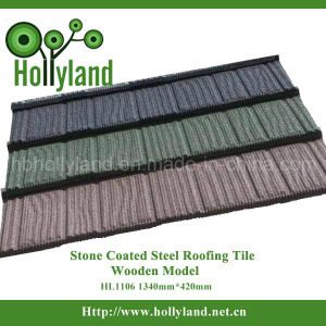 Colored Stone Coated Metal Roofing Tile (Wooden Type) (HL1106) pictures & photos