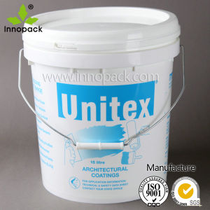 15L Plastic Paint Pail with Lid and Metal Handle pictures & photos