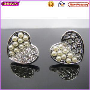 Elegant Heart Shape Half Crystal Pearl Female Earrings (22060) pictures & photos