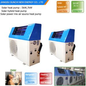 Heat Pipe Thermal Collector 5kw, 7kw, 9kw High Cop5.32 Domestic Hot Water 60deg. C Save 80% 220V Electric Mix Solar Power Heat Pump pictures & photos